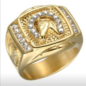 18K Yellow Gold Filled Diamond Horse Ring